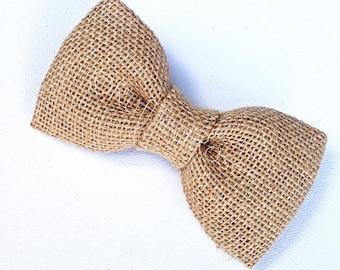 Burlap Bow Tie, Hessian Bow Tie, Jute Bow Tie, Groom Bow Tie, Men's Bow Tie, Boy's Bow Tie, Ring Bearer Bow Tie