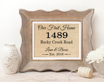Our First Home | New Home Housewarming Gift | Address Sign | New House Gift | Housewarming Gift | First Home | New Home | Realtor Gift