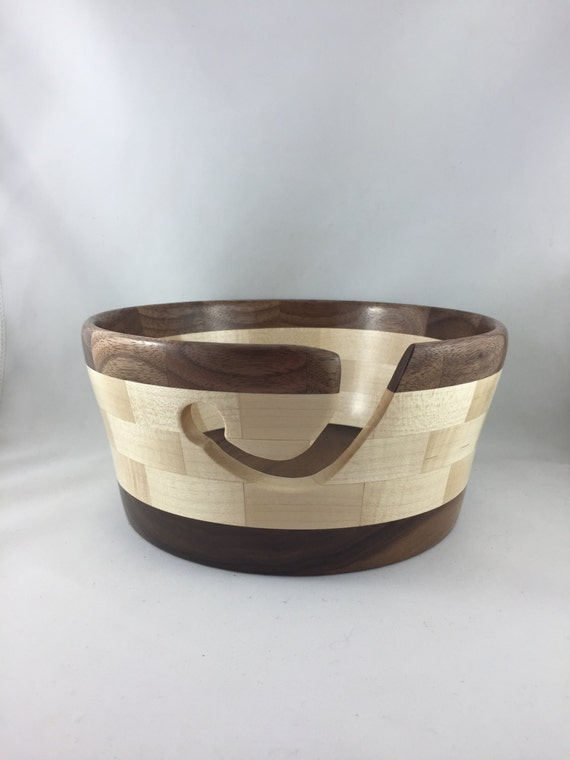 Knitting Bowl Canada : Hand turned wooden maple and walnut yarn bowl from