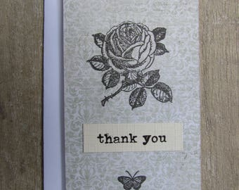 Little Thank You card - Printed rose on green