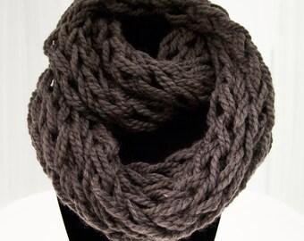 Dark Grey Arm Knit Infinity Scarf