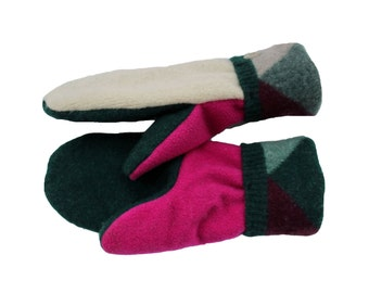 Ivory, Hot Pink, Forest Green, Plum Wool Sweater Mittens with Argyle Cuffs Recycled Wool, Handmade Made in Wisconsin by Sweaty Mitts