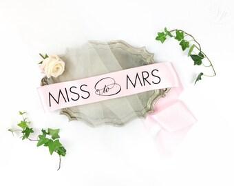 Miss to Mrs Sash - Bride to Be Bachelorette Sash - Bridal Shower Bachelorette Party Accessory - Satin Bride Sash - Bride Gift - Bride Sash