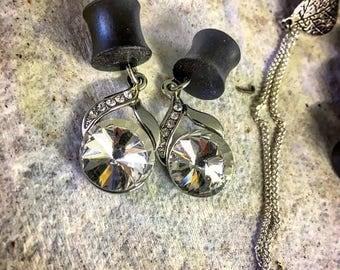 Elegant Crystal Dangle Ebony Plug Gauges for Stretched Ears 0g (8mm)- 1 inch (25.5mm), Wedding Plug Gages, Organic Wood Plugs, Diamond Gages