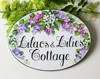 Lilacs painted Personalized House Sign, Personalized sign, Custom sign, Outdoor custom sign, Custom name sign, Personalized sign for home