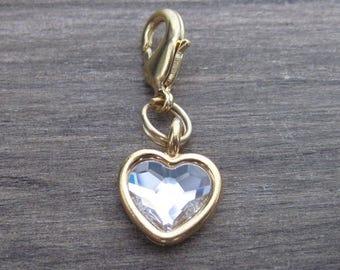 Clear Crystal Heart Charm - Gold - Pet Collar Charm - Dog Cat Bridle Charm
