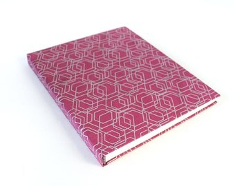 Large Hardcover Sketchbook, Magenta and Silver Geometric Pattern Fabric Jumbo Journal, Unlined Notebook, Gift for Artist, One of a Kind
