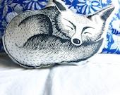 Sleeping fox shaped pillow, woodlands nursery decor cushion, screenprint kids room decor