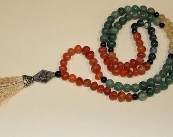 Reiki Infused Mala- Inner Peace 108 bead mala, meditation mala, tassel necklace,  japa mala, yoga style, tassel necklace