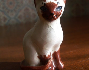Vintage Miniature Ceramic Siamese Brown and White Cat Figurine made by Nina B. Sutton of East Sandwich Mass.
