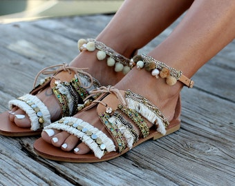 "Handmade Leather Sandals made to order, Sandals ""Indira"""