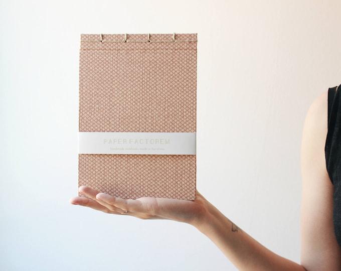Handmade notebook, japanese bookbinding,traditional japanese pattern notebook, soft pink notebook, made in barcelona, geometric notebook