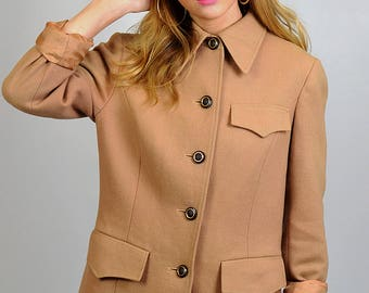Vintage Camel Brown Wool Blazer Jacket
