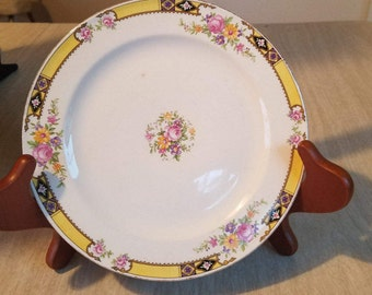 Vintage Dessert Plate -- Edwin Knowls Yellow Rim with Flowers Made in the USA