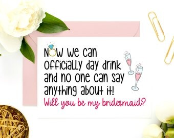 Funny Bridesmaid Card, Funny Maid of Honor Card, Funny MOH Card, Bridesmaid Cards, Will You Be My MOH, Be My Maid of Honor, Be My Bridesmaid
