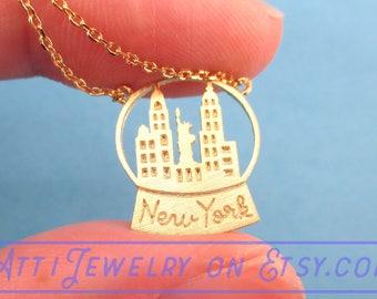 Snow Globe Shaped Dye Cut Pendant with New York Skyline Necklace in Gold  | Minimalistic Handmade Jewelry
