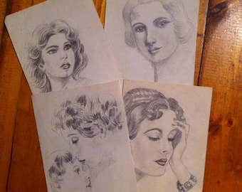Lot of 4 illustrations drawings 1930s vintage woman female portraits 50s