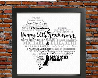 60th wedding anniversary - Diamond wedding anniversary, 60th wedding anniversary gift, 60th anniversary gift