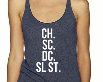 Crochet Abbreviation Tank - Vintage Navy Crochet Maker Women's Tank