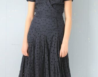 Vintage Diane von Furstenberg Dress/ Cotton Eyelet/Midnight Blue/