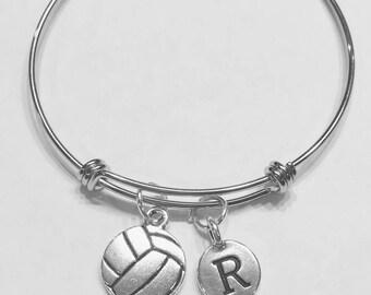 Gift For Her, Initial Bangle Bracelet, Volleyball Bangle Bracelet, Valentine Gift, Mother's Day Wife Daughter Sports Bangle Bracelet