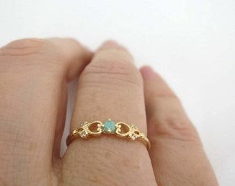 Gold Ring, Turquoise Ring, Princess Ring, Gold Zirconia Ring, Zirconia Ring, Promise Ring, Engagement Ring, Gift for Her, Under 30