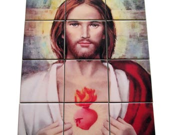 Christian wall art - Sacred Heart of Jesus - religious wall art, tile mural, christian wall decor, christian gift - Sacred Heart art print