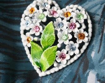 Vintage 50s 60s Pastel Rhinestone Floral Heart Brooch Earring Set