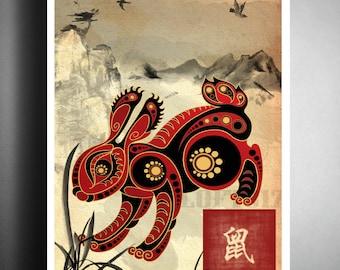 Asian Wall Decor chinese zodiac rat asian wall art astrology art print