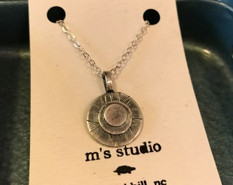 Handcrafted Sterling Silver Layered Circle Pendant w/Texture - MADE TO ORDER