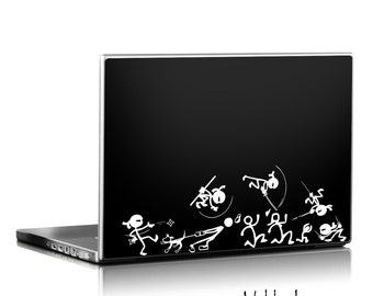 Ninjas chasing stick family decal, car decal, laptop decal, martial arts decal, karate sticker, stick figure family, auto sticker, decal