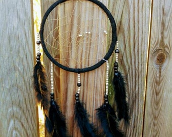 Black and silver dreamcatcher, small black feathered dreamcatcher, sinew dreamcatcher