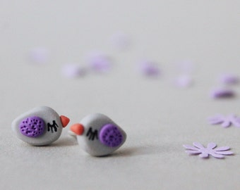 Bird Earrings - Handmade Bird Earrings - Fimo Earrings - Gift for Bird Lover - Fimo Bird Earrings - Polymer Clay Bird Studs - Easter Gift