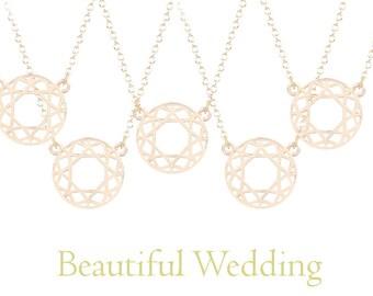 Bridesmaids Necklace Set. 5x Disc of Life Necklaces. Bridesmaids Set. Bridesmaids Gift.