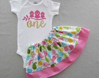 Bird First Birthday Outfit in colorful bird print - twirl skirt, girl birthday outfit, cake smash, spring birthday
