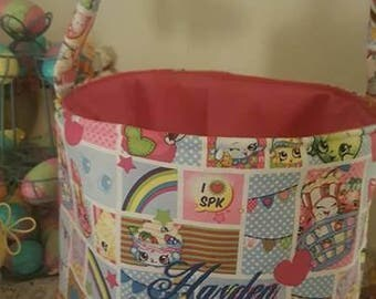 Shopkins Halloween fabricBucket made from cotton fabric, personalized with name ,