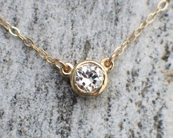 Diamond Solitaire Bezel Set .10 Carat 14K Gold Necklace