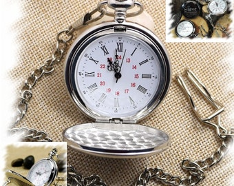 Pocket Watch , Groomsmen Gift , Engraved Mens Pocket Watch, Monogrammed Watch, Gift for Groom