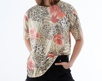 VINTAGE blouse, animal print, flowers, oversized t-shirt 80s, wholesale, bulk lot prices, ready for wear or resale ID:5132