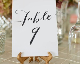 Printable Wedding Table Numbers, 1-50 Wedding Table Number Cards, Wedding Table Decor, 5x7 Table Number Card, Instant Download