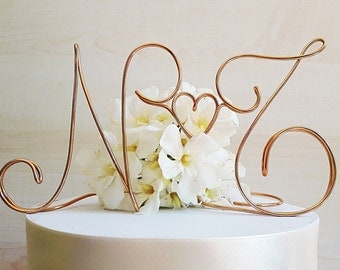 Initials wedding cake topper, anniversary cake topper, wire initials, custom cake topper, wedding cake decoration, handmade topper