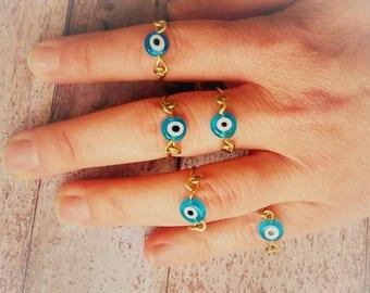 Evil Eye Ring, Greek Mati Protective Eye Ring, Minimal Skinny Midi Ring, Thin Ring, Boho Hippie Festival Stacking Evil Eye Ring, Greek Rings