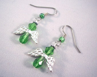 St Patty's Day Crystal Angel Earrings Green and Silver Earrings Wings Earrings Lime Green Earrings Short Earrings Small Earrings
