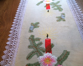 Christmas Decor Vintage Table Runner Embroidered Table Linen Candel Bells Branches Lace Edging Polish linens Folk Table topper Dresser scarf