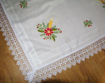 Christmas White hand embroidered square vintage traycloth Polish linen hand embroidered Poinsettia candel Table top dresser scarf xmas decor