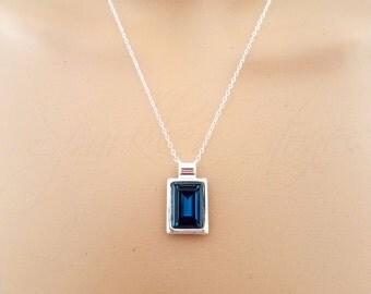 Swarovski Crystal Necklace, Blue Swarovski Crystal Pendant Necklace, Blue & Silver Necklace, Dark Blue Montana Crystal Rivoli Necklace