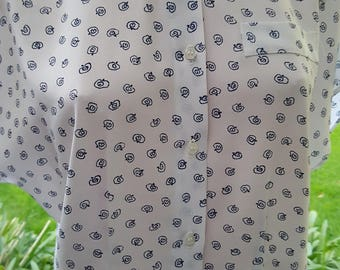 Vintage 90's festival preppie print button front  top blouse