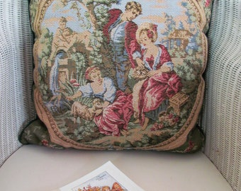 Romantic vintage tapestry pillow/cushion~Nostalgic pastoral idyl~Highly detailed, unfaded beauty~Velvet reverse/piping & feather insert