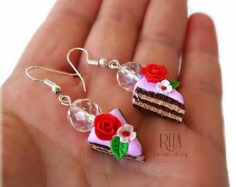 Cake earrings. Sweet Polymer clay, Food Jewelry, Miniature Food.