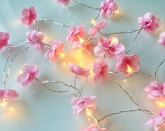 20 Cherry blossom fairy lights - led lights 20 led fairy lights - Flower string lights